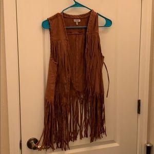 Worn once! Brown fringe vest!